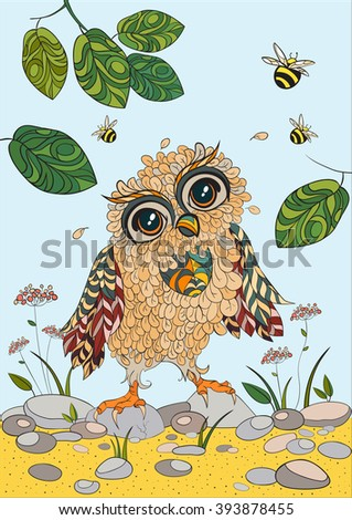 A4 Colorful Vector Monochrome Zentangle Stylized Abstract Wise Owl And Fly Bee Art Color