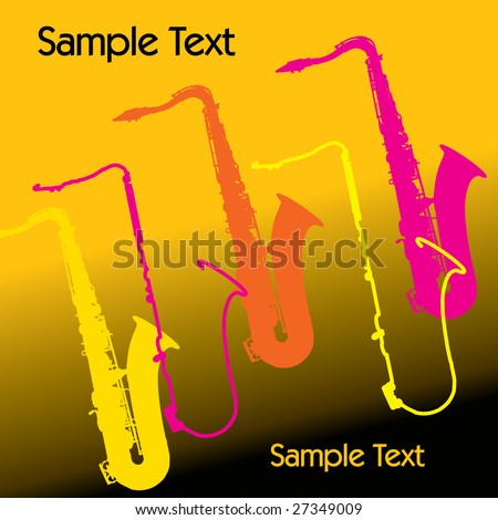 A colorful vector music sax background with copy space - stock vector