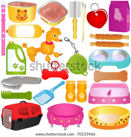 A colorful Vector set of Cats / Dogs, Food and Accessories, isolated on white background - stock vector