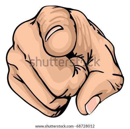 a colour illustration of a human hand with the finger pointing or gesturing towards you. - stock vector