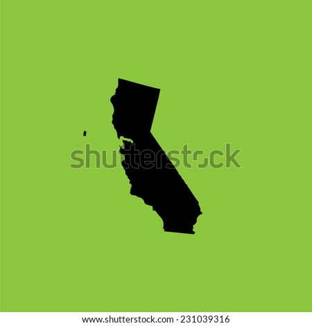 A Coloured background with the shape of the united states state of California - stock vector