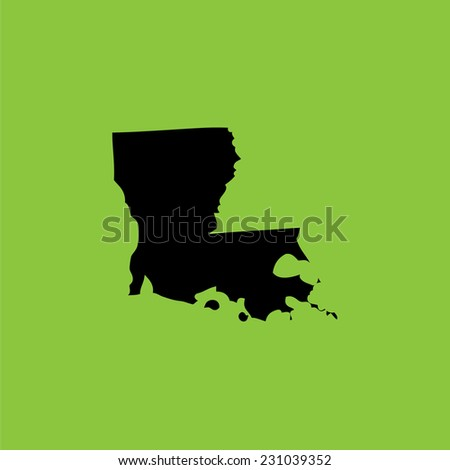 A Coloured background with the shape of the united states state of Louisiana - stock vector