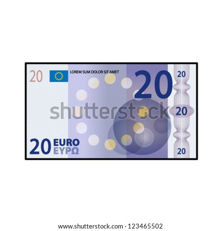 A colourful $20 bank note / paper money. - stock vector