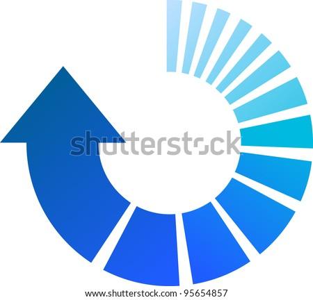 A Colourful Blue Vector Circular Arrow Illustration - stock vector