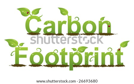 A Colourful Carbon Footprint Illustration - stock vector