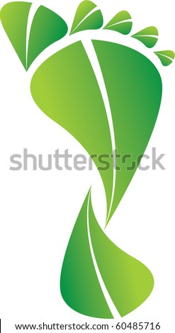 A Colourful Green Eco Carbon Footprint Illustration - stock vector