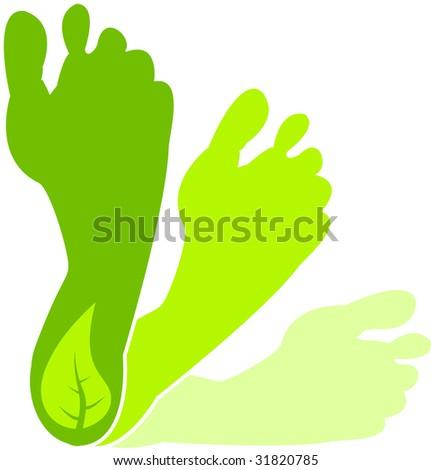 A Colourful Green Footprint Illustration - stock vector