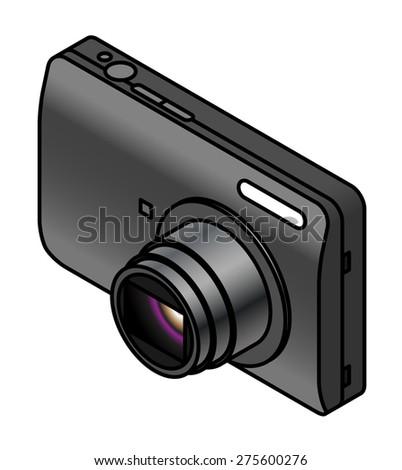 A compact digital camera. - stock vector