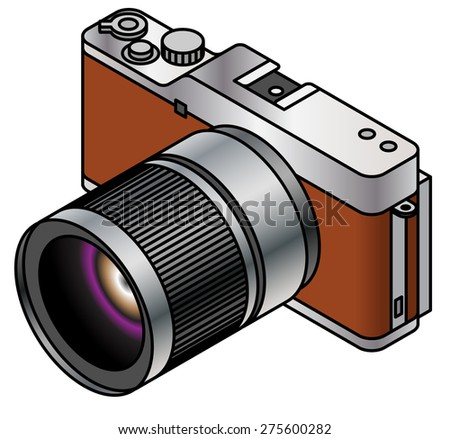 A compact system / mirrorless interchangeable lens camera. Brown. - stock vector