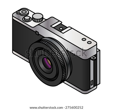 A compact system / mirrorless interchangeable lens camera. With a pancake lens. - stock vector