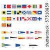 A complete set of Nautical flags for letters and numbers, including ordinal numbers. EPS10 vector format. - stock vector