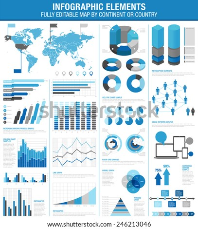 A comprehensive Template set for infographics.  - Bar charts - Graphs - Pie Charts - Detailed World Map - Pointer Icons - Story Line Templates Vector file is EPS v.10 and is organized with layers. - stock vector