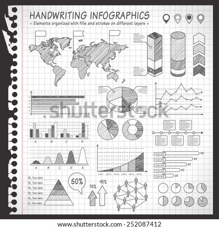 A comprehensive Template set for infographics with a sketchy Notebook Effect.  - Bar charts - Graphs - Pie Charts - Detailed World Map - Pointer Icons Vector file is organized with layers - stock vector