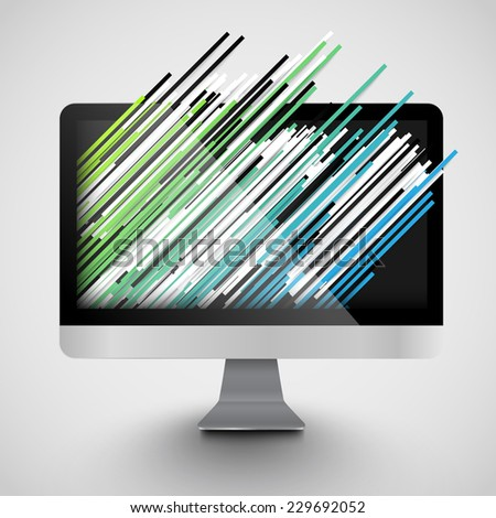 A computer with abstract and colorful lanes, vector - stock vector