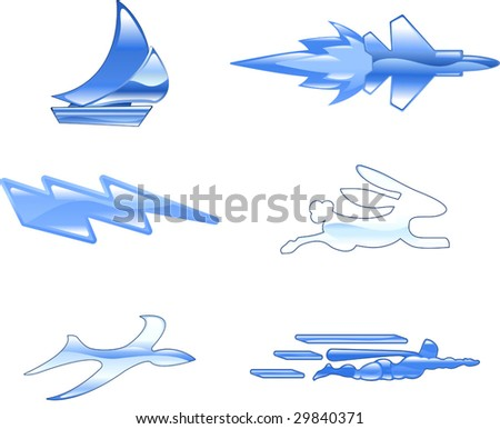 A conceptual icon set relating to speed, being fast, and or efficient. - stock vector