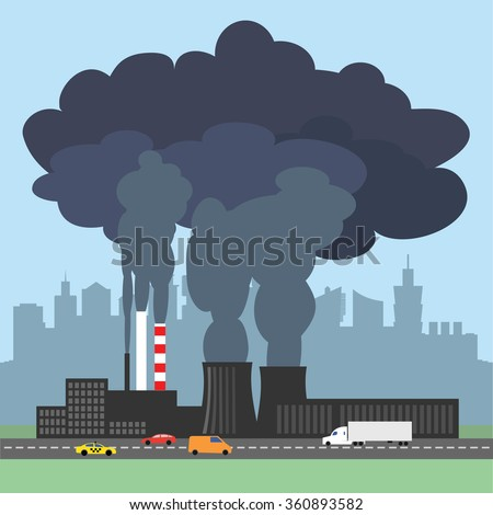 A conceptual vector illustration showing the polluted smoke from a factory chimney over a city. Causes of air pollution, acid rains and green house effect. Ecological disaster. Industrial problems. - stock vector