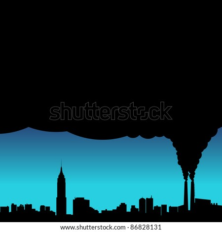 A conceptual vector illustration showing the polluted smoke from a factory chimney over a city. - stock vector
