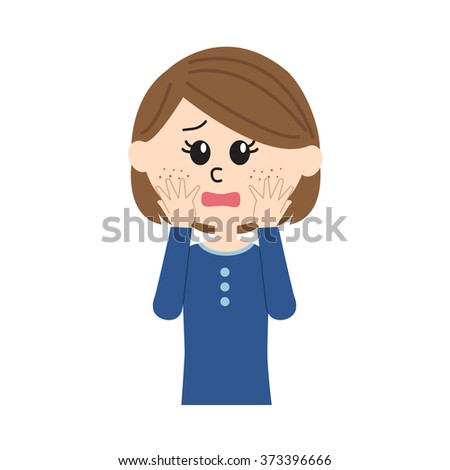 A concerned young woman with pimples on her cheek - stock vector