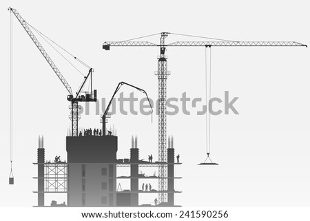 A Construction Site with Tower Cranes. Vector EPS 10 - stock vector