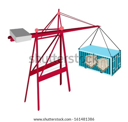 A Container Crane Lifting A Blue Freight Container To A Ship, Container Crane Is A Heavy Machine for Loading and Unloading Container from Container Ship.  - stock vector