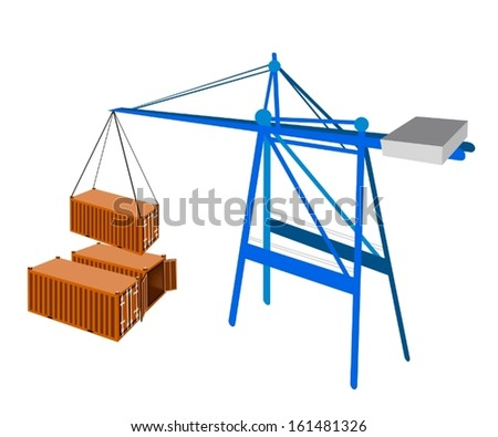 A Container Crane Lifting An Orange Freight Container from Stack To A Ship, Container Crane Is A Heavy Machine for Loading and Unloading Container from Container Ship.  - stock vector
