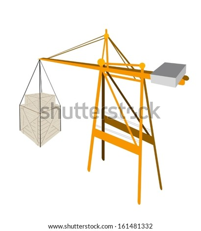 A Container Crane Lifting Two Wooden Crate or Cargo Box with Steel Banding, Preparing for Shipment.  - stock vector