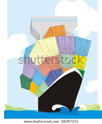 A container ship sailing through an ocean - colorful cartoon vector illustration - stock vector