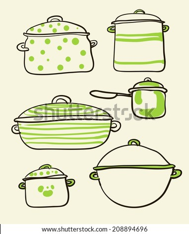 a Cookware set of Retro vector illustration  - stock vector
