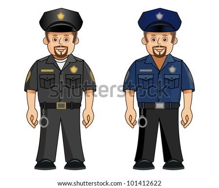 A cop in 2 uniforms - stock vector