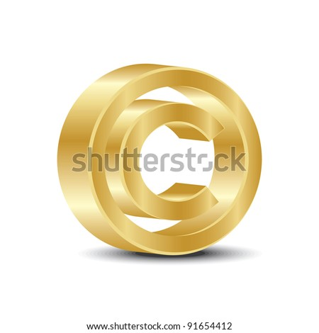 A copyright sign in gold  color on white background. - stock vector