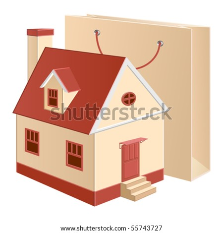 A cottage model with a shopping bag near - stock vector
