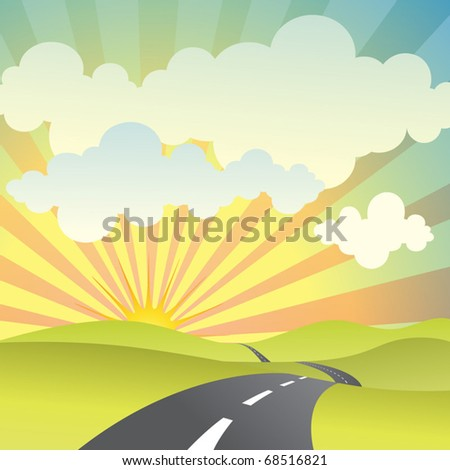 A Country Landscape with Road and Sunset