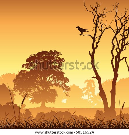 A Country Meadow Landscape with Trees and Bird - stock vector