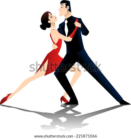 A couple dancing the tango, isolated on white background. - stock vector