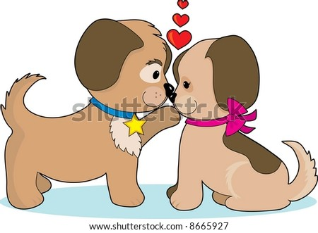 A couple of puppies cuddling, looking at each other and hearts over their heads - stock vector