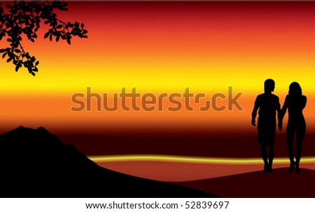 a couple on the beach at sunset - stock vector