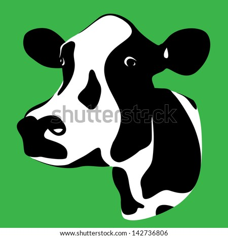 a cow head silhouette on a green background - stock vector