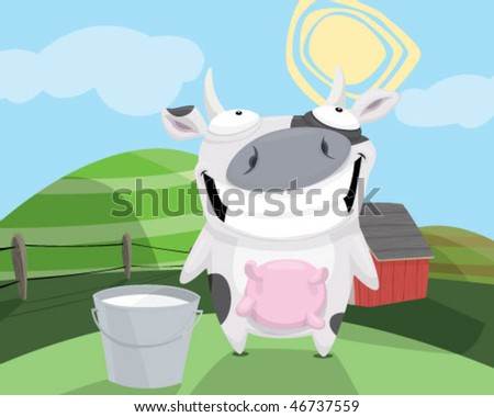 A cow with a bucket of milk. - stock vector