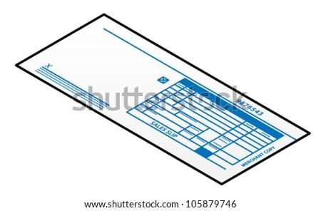 A credit card imprinter slip. - stock vector
