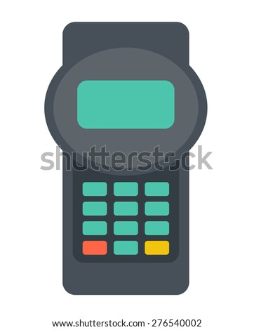 A credit card reader machine. A contemporary style. Vector flat design illustration with isolated white background. Vertical layout - stock vector