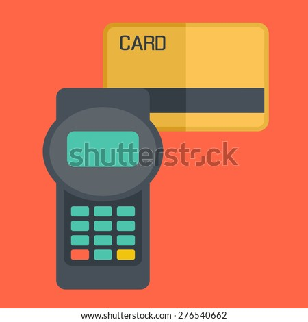 A credit crad Contemporary style with pastel palette, soft orange tinted background. Vector flat design illustrations. Square layout with text space in right side  - stock vector