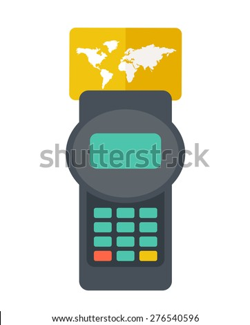 A credit crad machine Contemporary style with pastel palette, soft orange tinted background. Vector flat design illustrations. Square layout with text space in right side  - stock vector