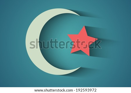 A crescent moon holiday symbol, eps10 vector background - stock vector