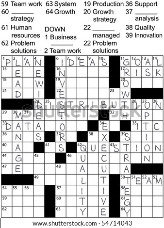 A Crossword Puzzle With Business Plan Words As Clues And Solution Answers
