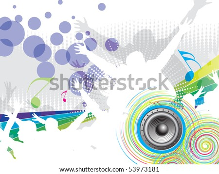 A crowd of party people vector with music concept , vector illustration. - stock vector