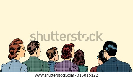 A crowd of spectators stand back retro style pop art - stock vector