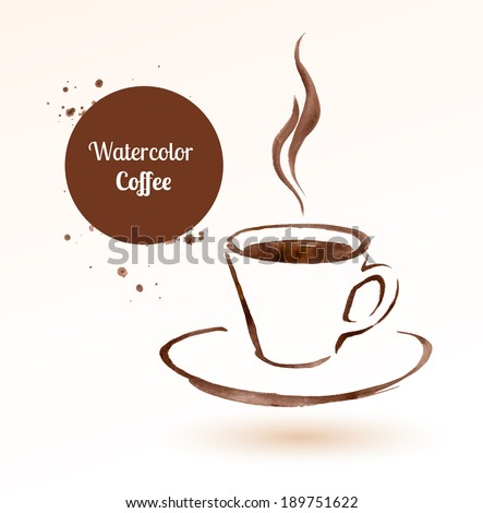 A cup of coffee. Hand drawn watercolor sketch. Vector illustration. isolated.