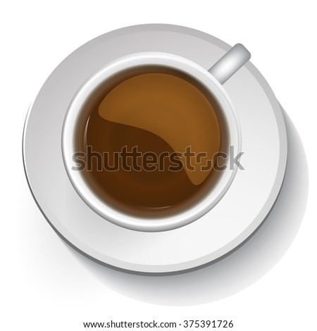 A cup of coffee on a white saucer. Flavored coffee. Isolated on white background. Coffee top view. Morning coffee. breakfast. Coffee break - stock vector