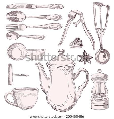 A cup of tea and vintage kitchen utensils isolated on white background - stock vector