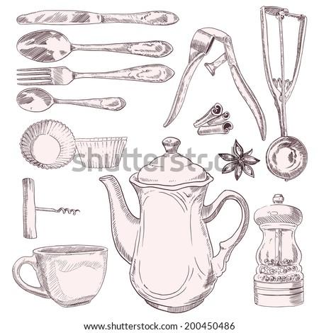 White Kitchen Utensils vintage kitchen utensils stock images, royalty-free images